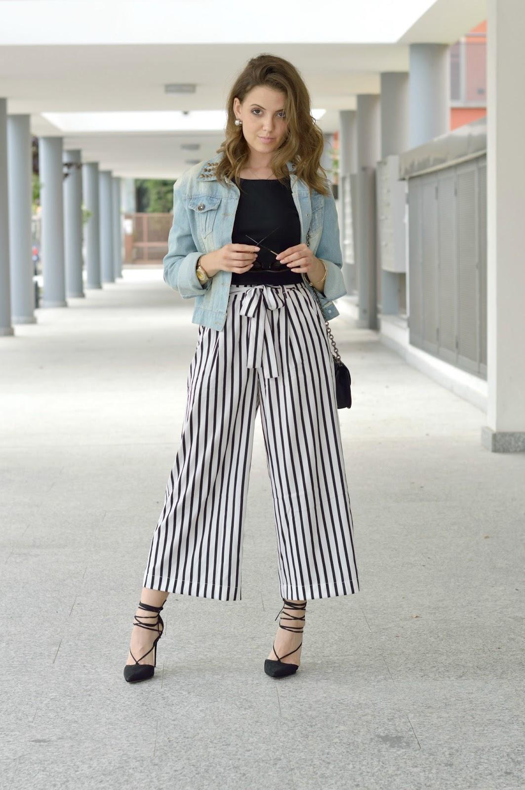 Favoloso Stripe culotte pants: Casual Chic da giorno - Ellysa ZI09
