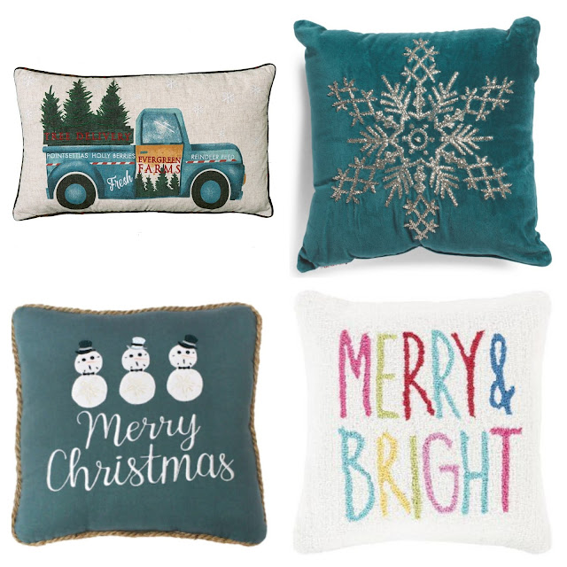 Teal Christmas Decor Pillows