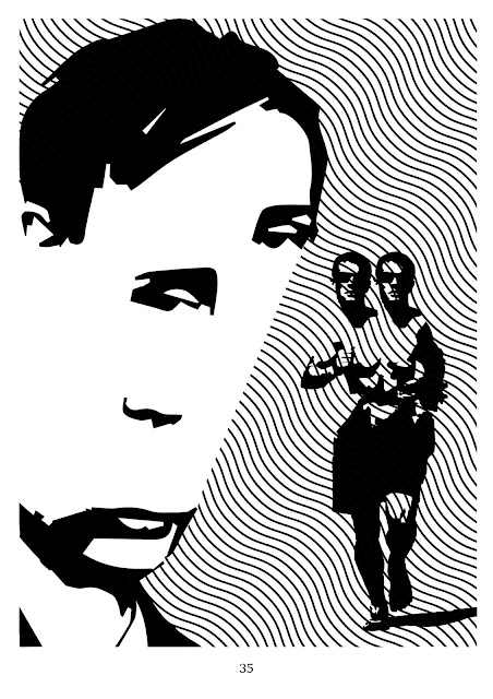 The Runner. A runner with two heads. Where does he run to? Perhaps he does not have enough heads? Perhaps he wants to share his superfluous head? It seems that he is tired, but he has the strength to run. He does not pose for an artist. He runs from point A to point B. He is followed by an arbitrator who watches on the runner. The artist remains invisible until he will forced to flee.
