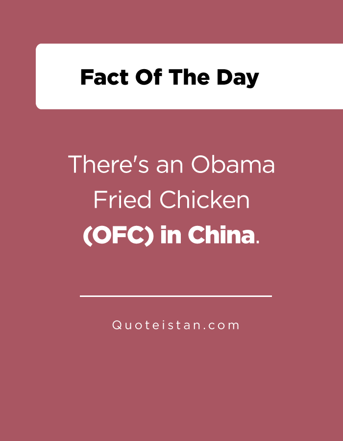 There's an Obama Fried Chicken (OFC) in China.