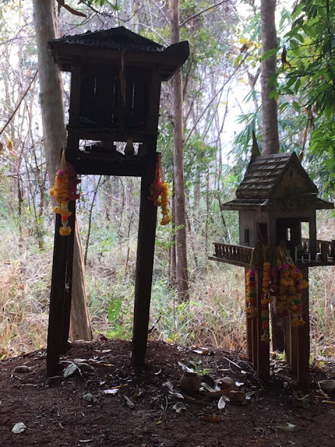 On the top of the mountain, the Khao Ruak Forest Protection Shrine, we stop and pay respect.