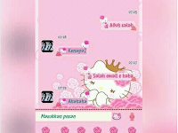 BBM MOD Hello Kitty Flower Pink Apk v3.2.0.6 Full Color Terbaru