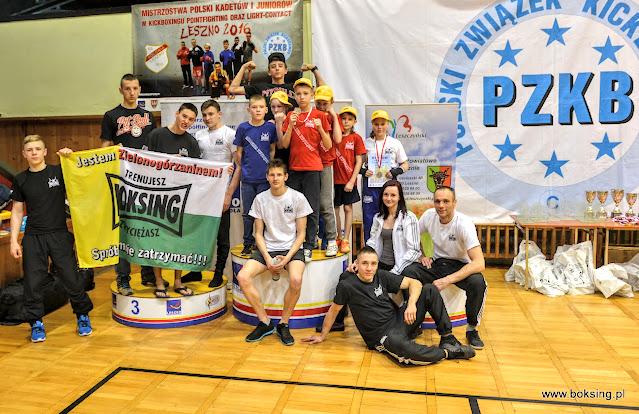 Leszno, Mistrzostwa 2016, kadeci, juniorzy, Akademia Zwycięzcy, sport, kickboxing, Zielona Góra, medale, wyniki