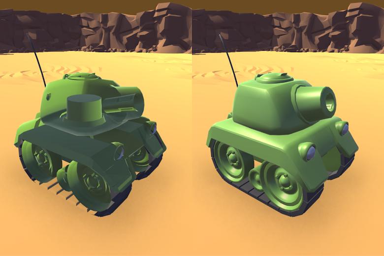 坦克繪製,左邊為非預期的結果,右邊為想要的繪製結果