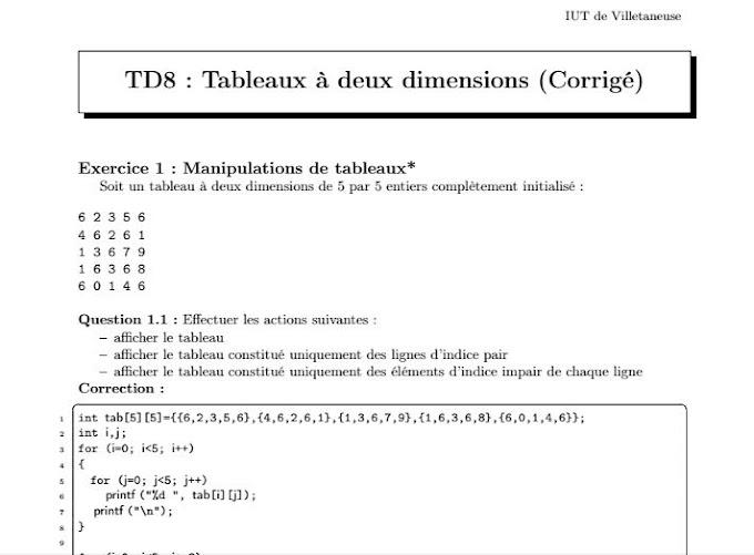 7 exercices corrigées language C : Tableaux à deux dimensions