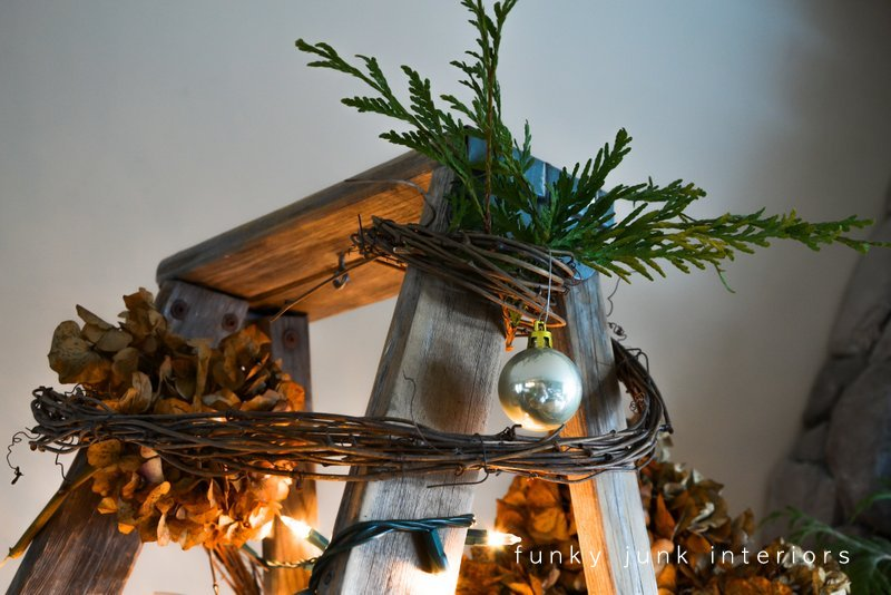Ladder Christmas Tree.A Treeless Ladder Christmas Tree Day 10 Funky Junk Interiors