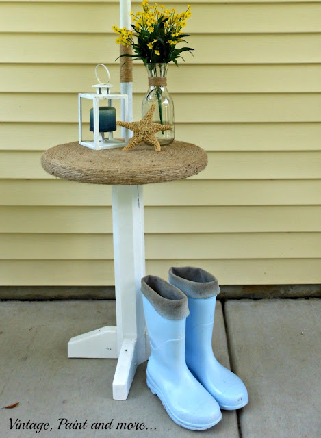 Vintage, Paint and more... twine wrapped table for a beach decor