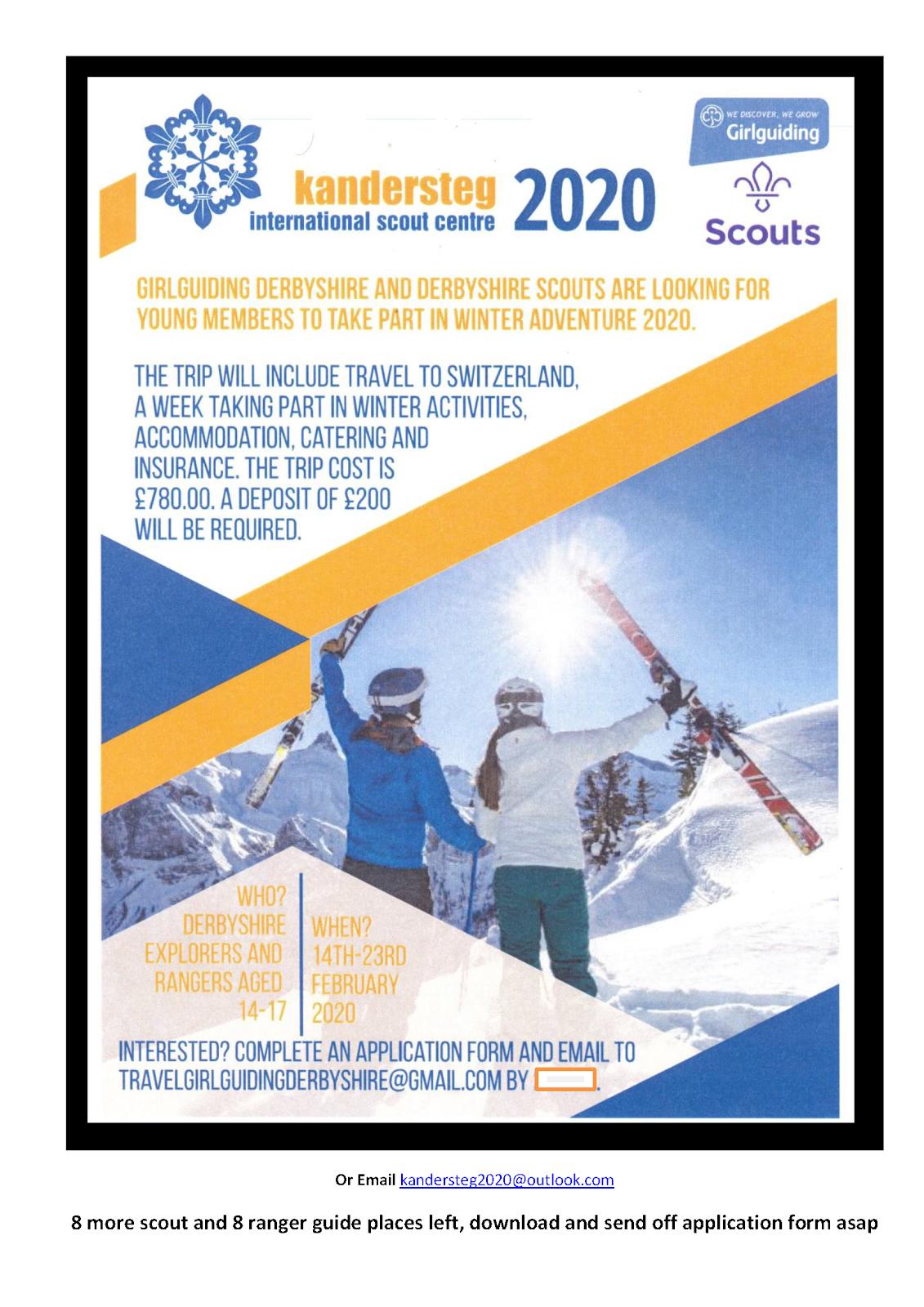 1st Taxal Scouts: Kandersteg 2020 opportunity