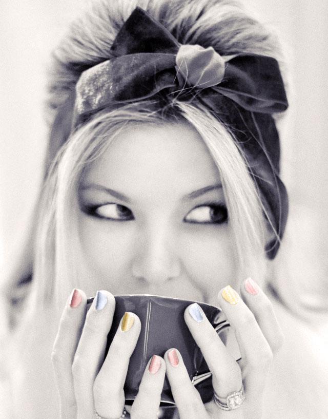 black and white photo, sipping tea, metallic nails