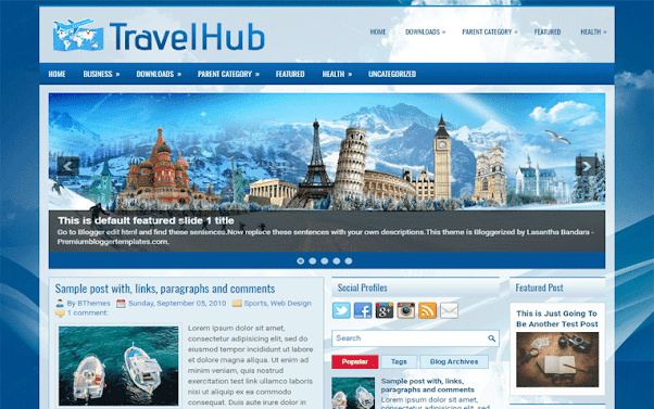 TravelHub Free Blogger Template