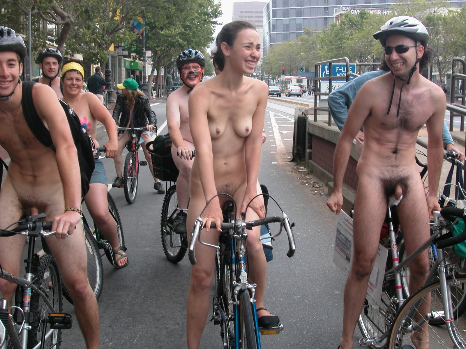 Naked cfnm zoomed ride groin bike