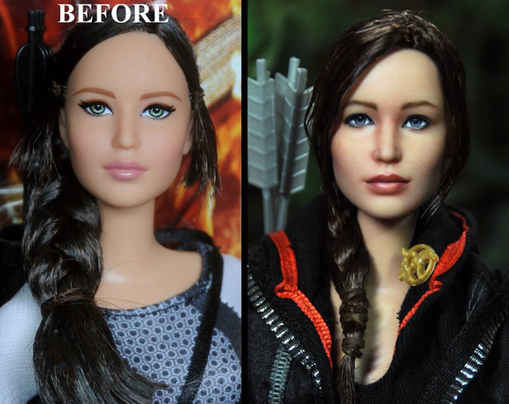 02-Hunger-Games-Jennifer-Lawrence-Noel-Cruz-Hyper-Realistic-Make-up-on-small-Dolls-www-designstack-co
