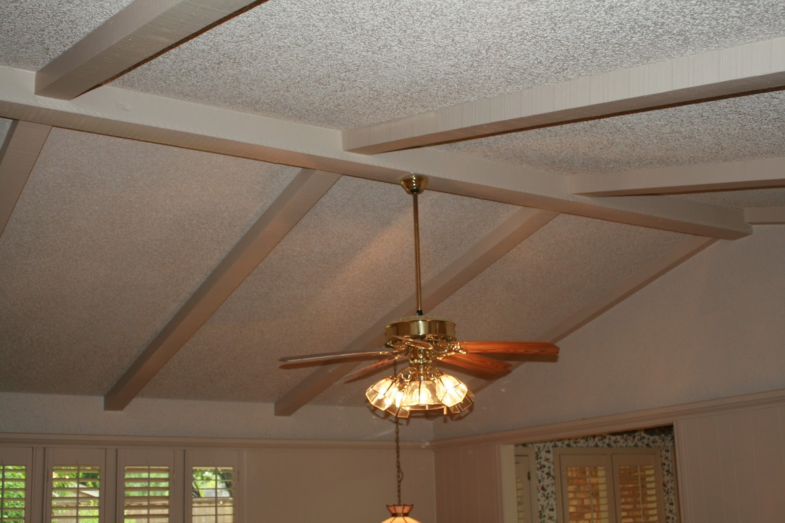 Romance renovations painting ceiling beams to look like wood for How to add beams to a ceiling
