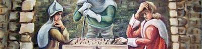 Caballeros de la Edad Media jugando ajedrez