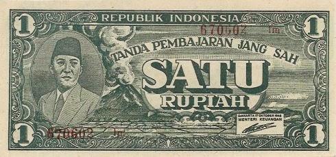 satu rupiah 1945 depan