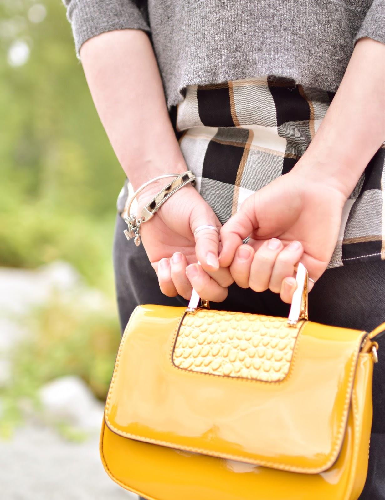 patent yellow mini-bag