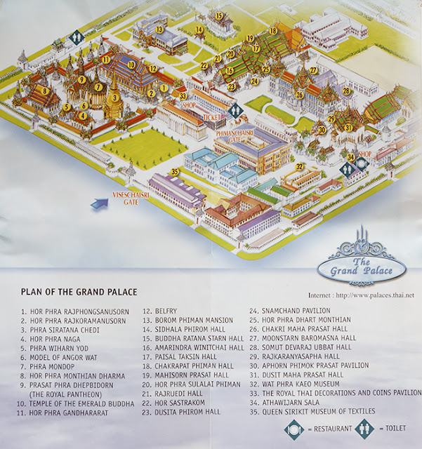 Palacio Real de Bangkok plano mapa en español