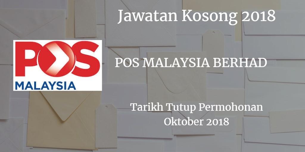 Jawatan Kosong POS MALAYSIA BERHAD Oktober 2018