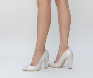 Pantofi Ceaus Argintii de ocazie cu toc gros inalt