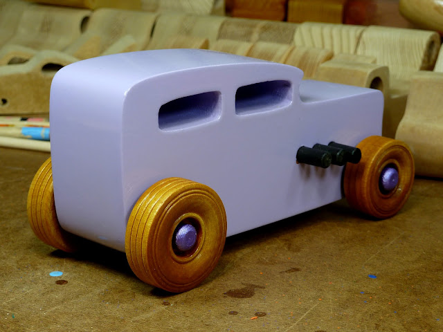 Wooden Toy Car - Hot Rod Freaky Ford - 32 Sedan  Right Rear