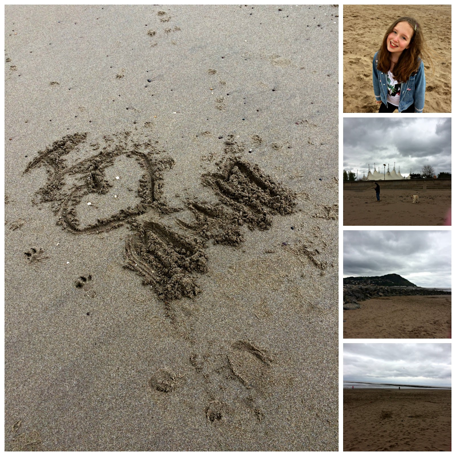 Collage of Minehead Beach with Caitlin