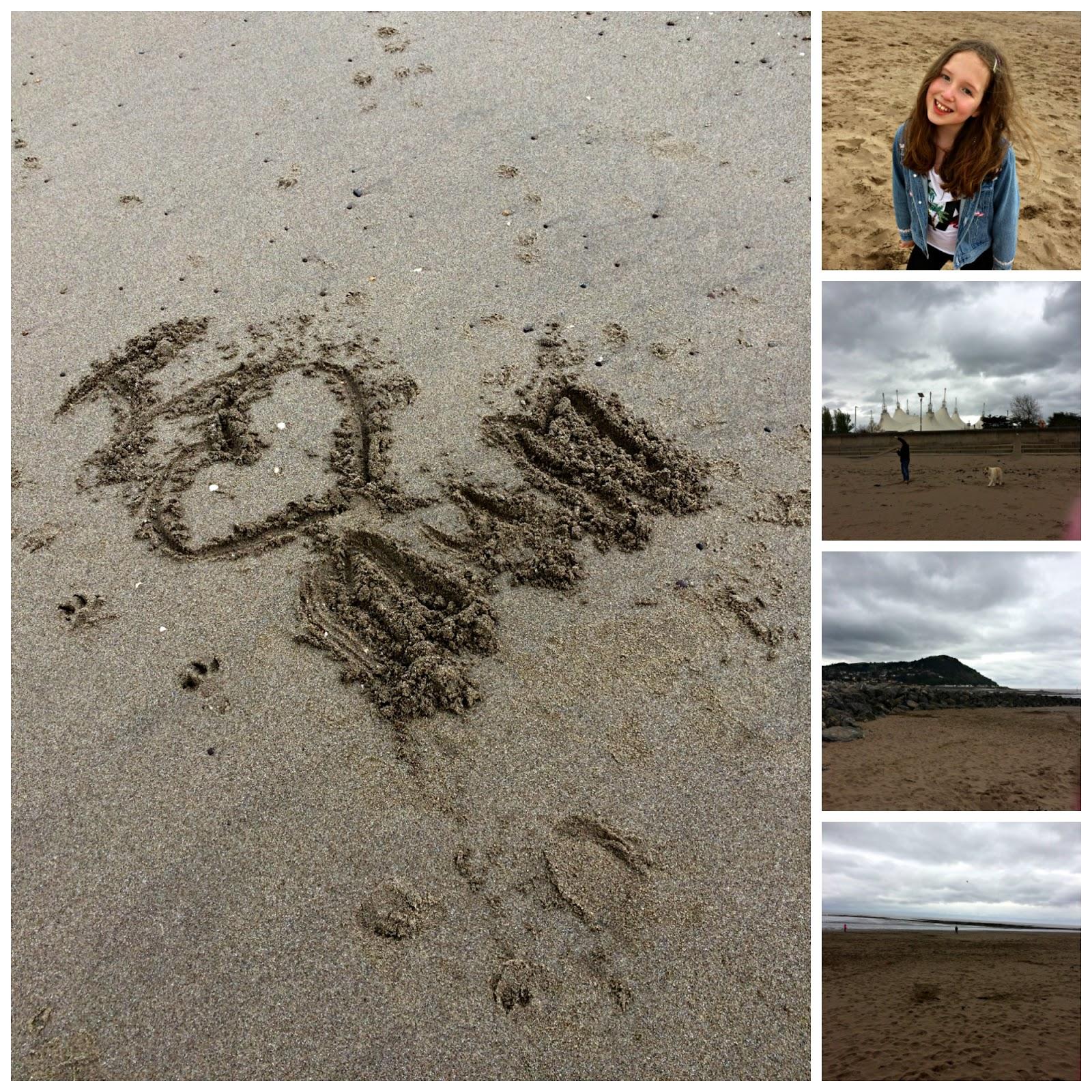 Collage of Minehead Beach with Caitlin