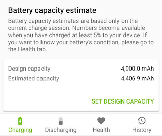 Find Android battery capacity using AccuBattery app