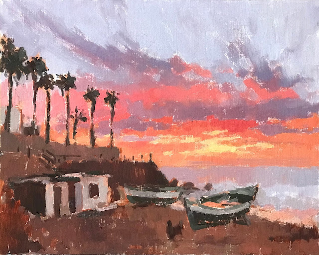 #433 'Red Sky & Fishing Hut' 24x30cm