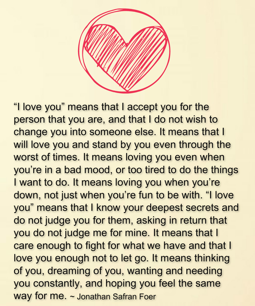 """The Meaning Of I Love You Quotes: Awesome Quotes: What """"I Love You"""" Means"""