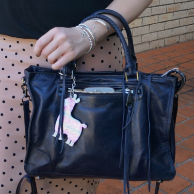 Rebecca Minkoff Regan Satchel Tote in moon with llama charm and pink polka dot skirt | awayfromtheblue