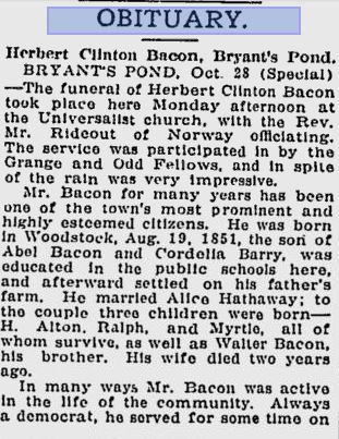 obituary of Herbert Clinton Bacon Woodstock, Maine