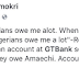 Amechi's GTbank account number for paying debt's