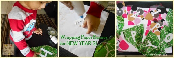 Making a New Year's banner with leftover wrapping paper
