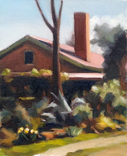 Oil painting of a house featuring a gabeled red roof and chimney, surrounded by trees and shrubs.