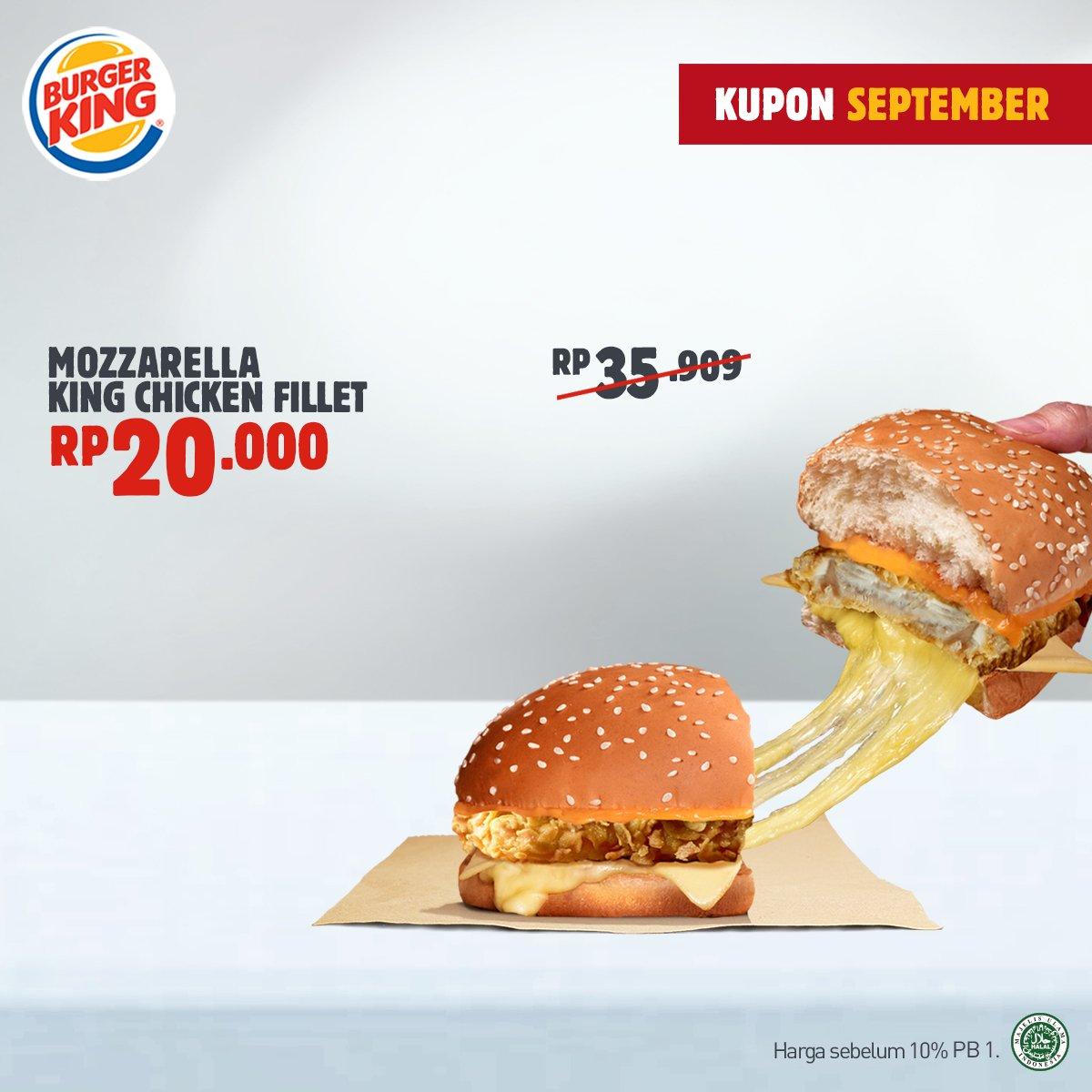 BurgerKing - Promo Tukar Kupon September Dapat Mozarella King Chicken Fillet