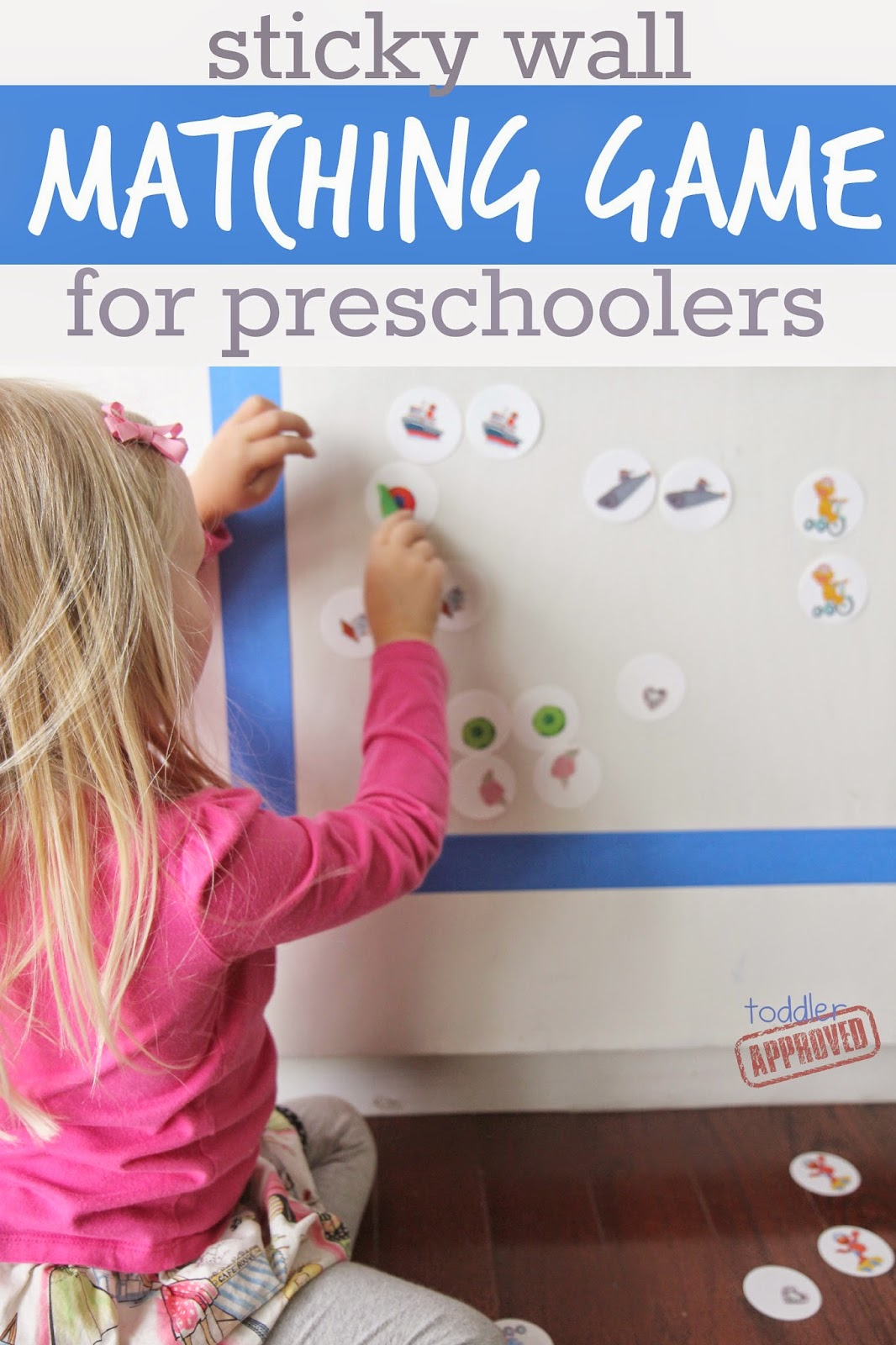 Toddler Approved   Sticky Wall Matching Game for Preschoolers Thursday  April 24  2014