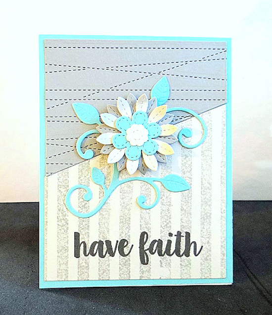 Sensational Stitched Flowers Card Kit, Distressed Stripes Background stamp, and Stitched Strip Die-namics - Emily #mftstamps