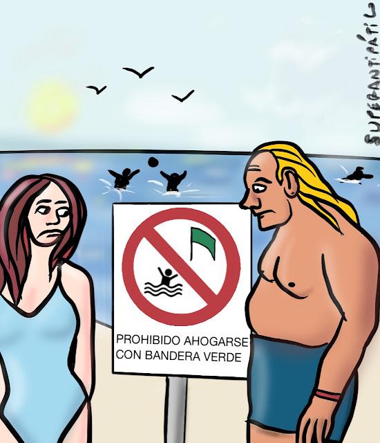Prohibido ahogarse con bandera verde