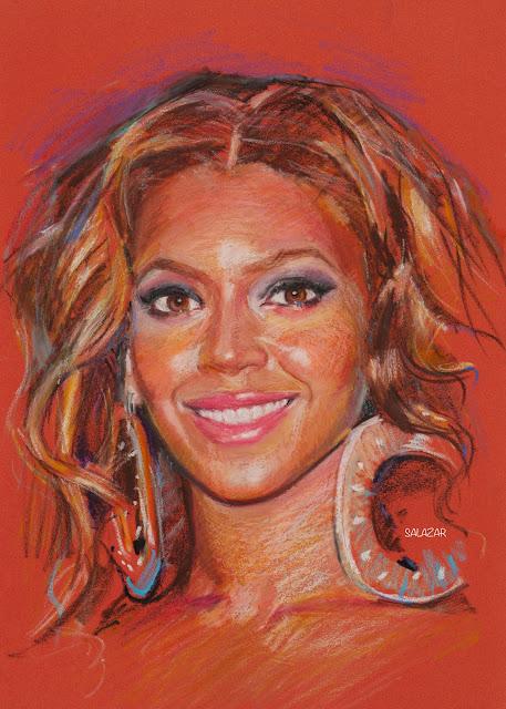 Beyonce dibujo con oil pastels Sennelier