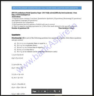 ibps po prelim practice question paper