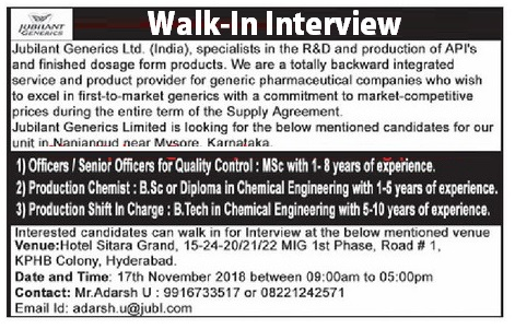 Jubilant Generics Ltd Walk In Interview For Multiple Positions at 17 November