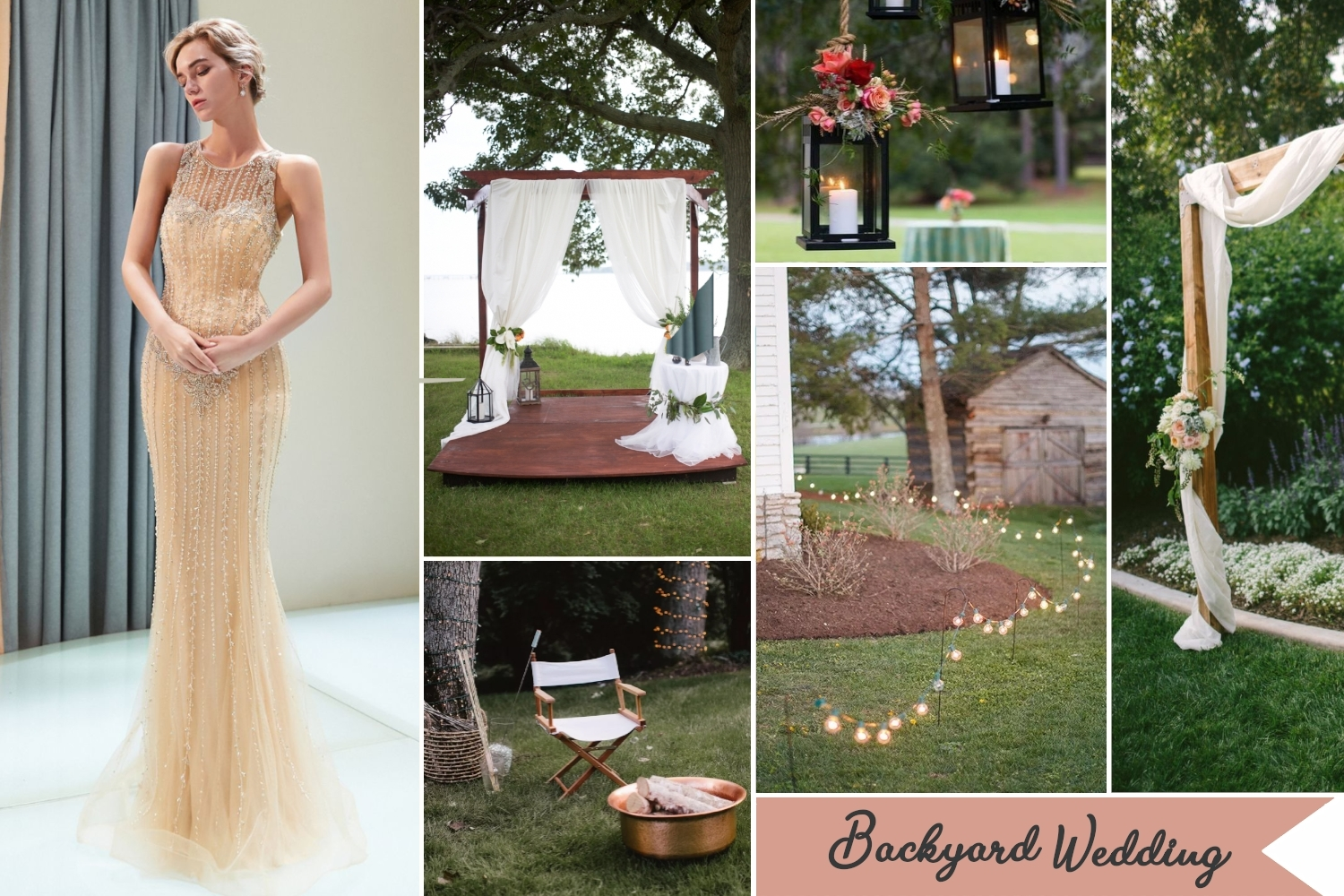 backyard wedding collage