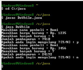 3. Projec DoWhile Mengunakan Bahasa Pemrograman Java