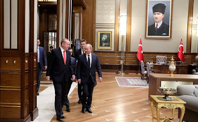 Vladimir Putin with President of Turkey Recep Tayyip Erdogan.