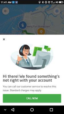 Notifikasi pada aplikasi Go-Jek pada saat ada error dan tidak bisa digunakan