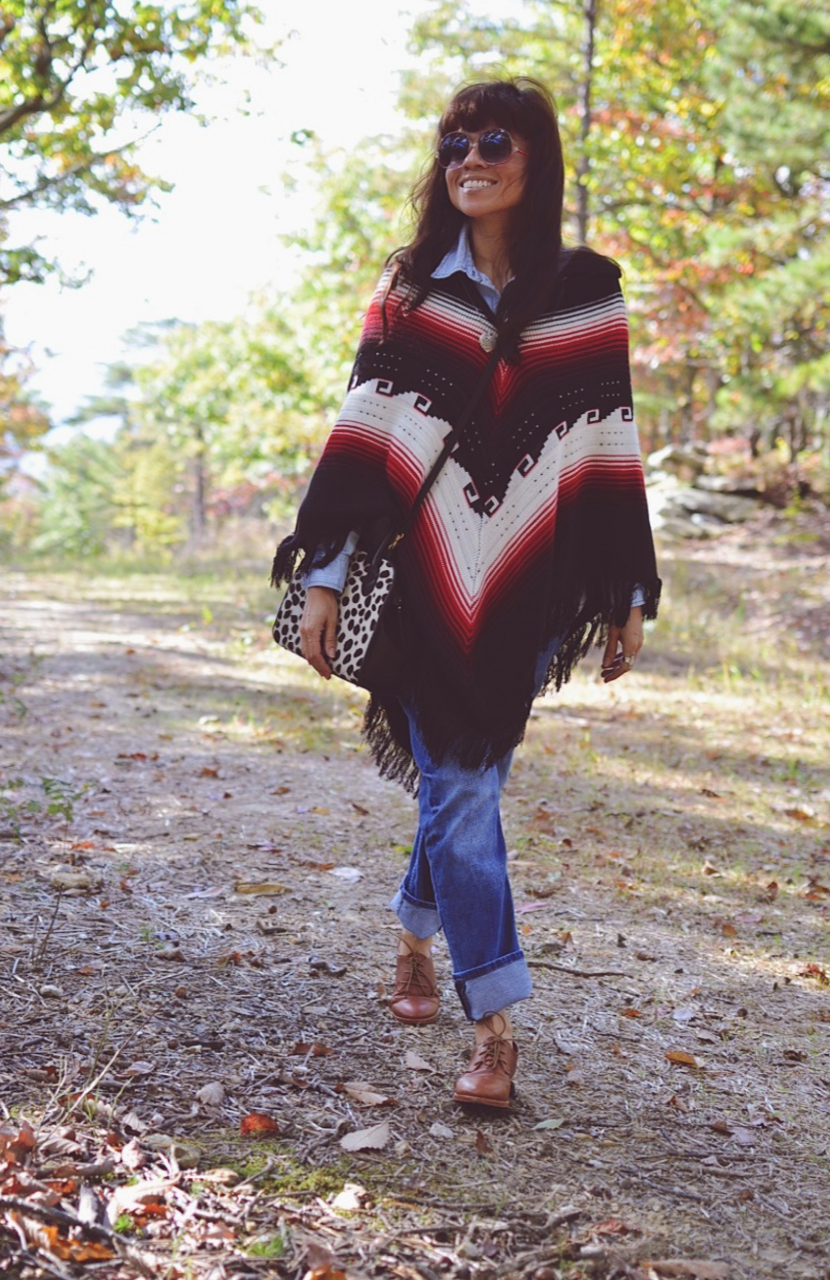Fall outfit with a poncho