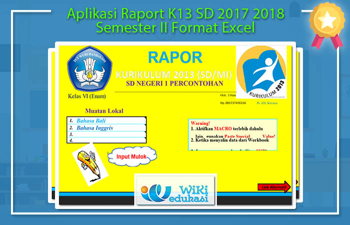 Aplikasi Raport K13 SD 2017 2018 Semester II Format Excel
