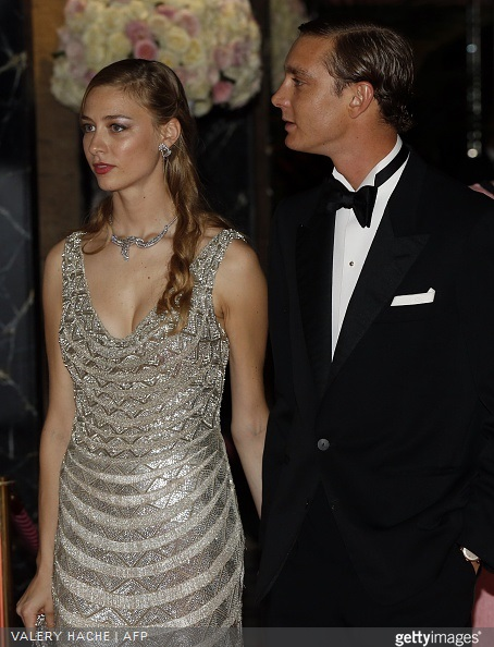 Pierre Casiraghi and Beatrice Borromeo arrive for the annual Rose Ball at the Monte-Carlo Sporting Club in Monaco