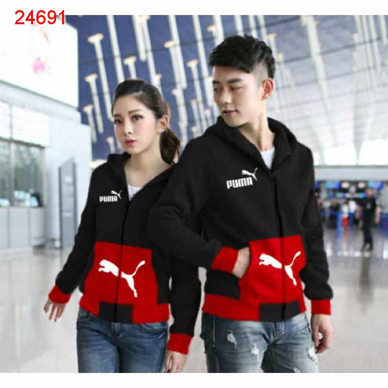 Jual Jacket Couple Jaket Puma Pocket Black Red - 24691
