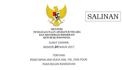 Surat Edaran Menpan Tentang Penetapan Jam Kerja ASN, TNI, dan POLRI Pada Bulan Ramadhan